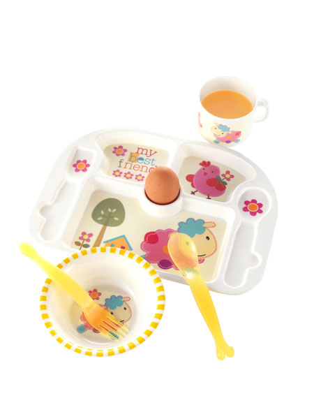 5 Piece Melamine Baby Dining Set Sheep