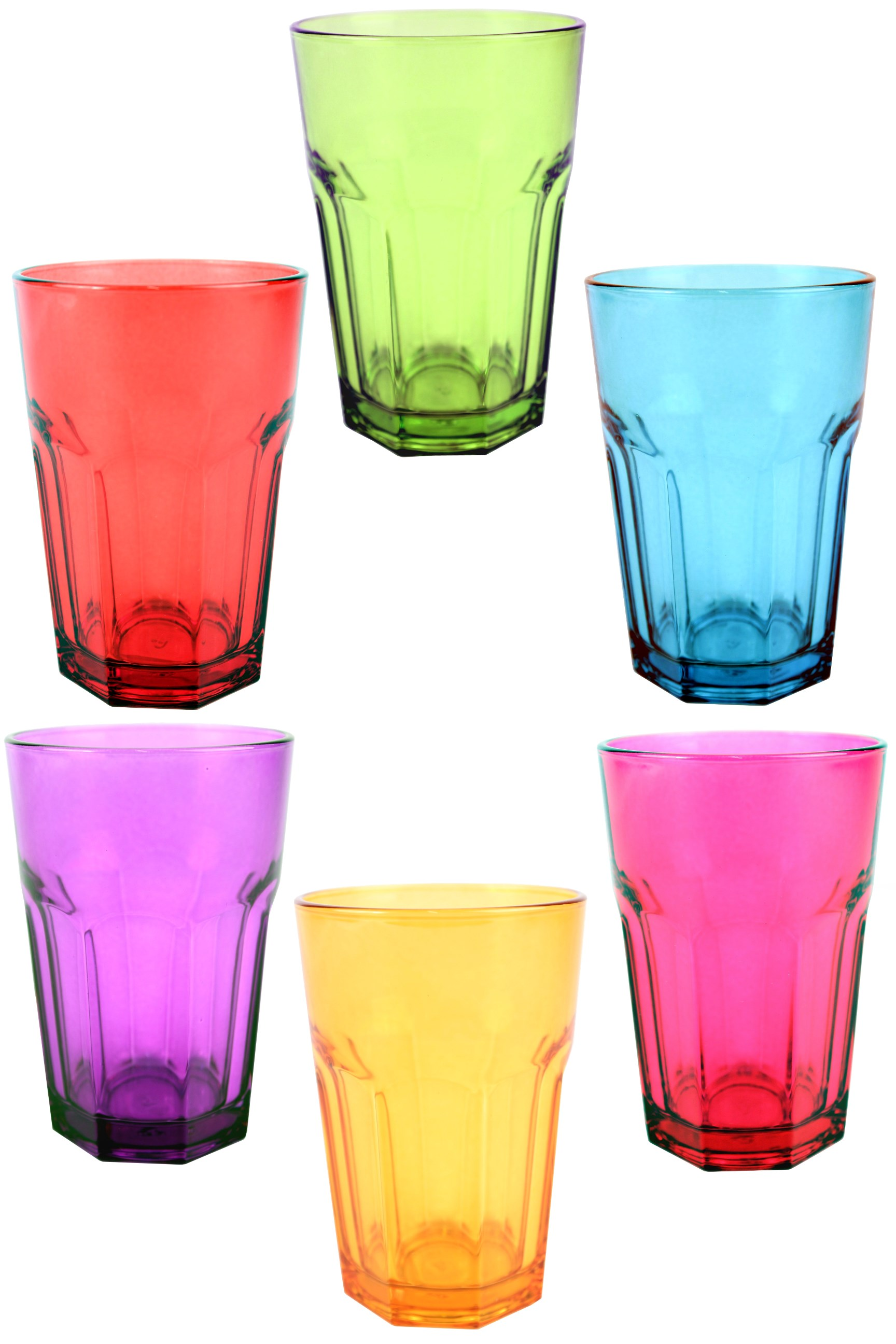 Coloured Drinks Glass Multi Coloured Tumblers Capacity