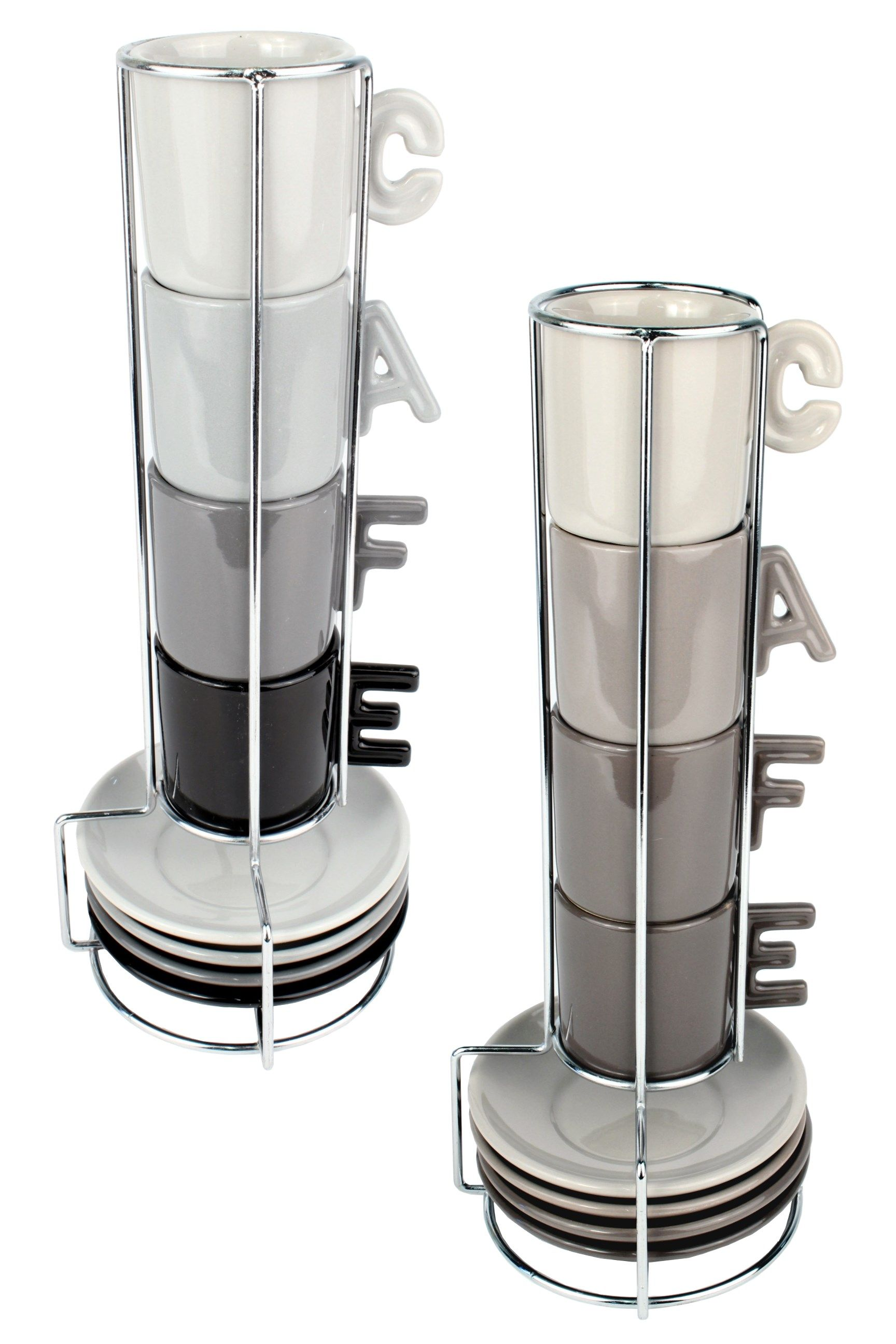 Glass espresso coffee cups uk - Espresso Cup Saucer Set With Stand Coffee Mug Tower Set Of 4 Cups