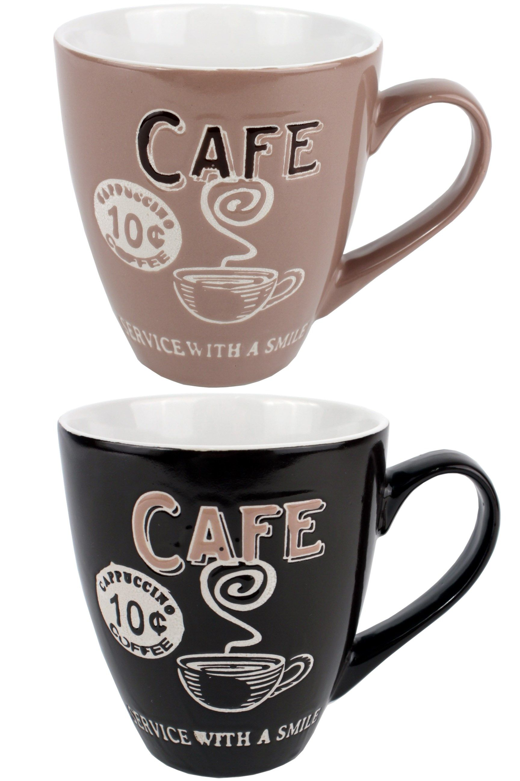 Large Retro Coffee Mug Service With A Smile Coffee Shop Cup