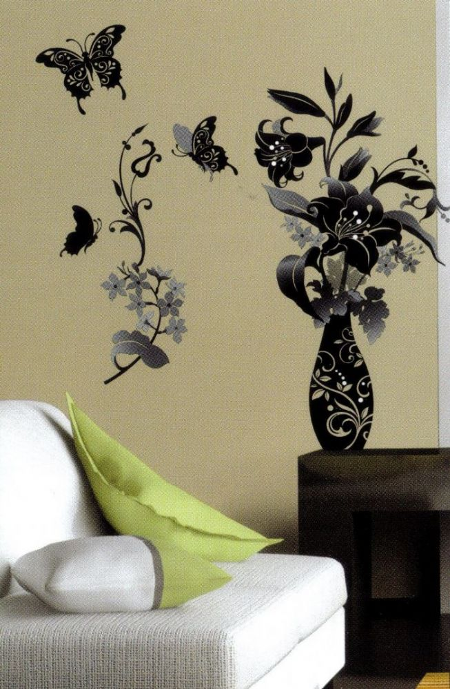 Monochrome flower and butterfly black white wall sticker for Black and white wall mural