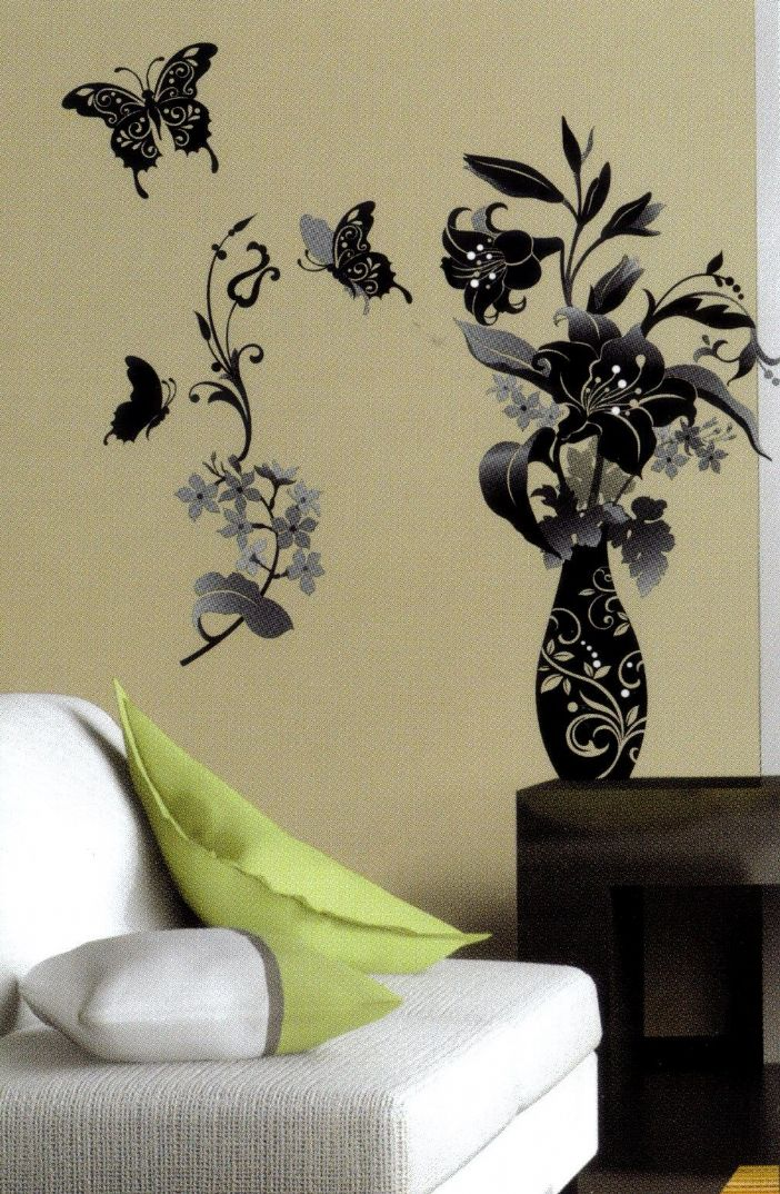 Black And White Floral Wall Decor : Monochrome flower and butterfly black white wall sticker