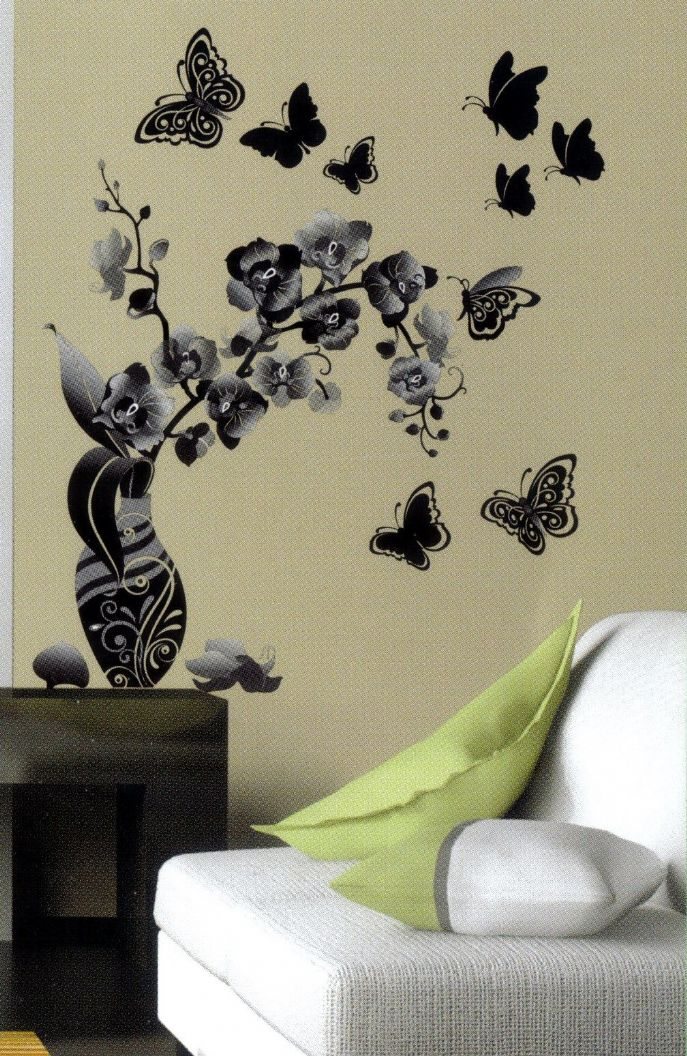 Black And White Floral Wall Decor : Pics for gt black and white flower wall art
