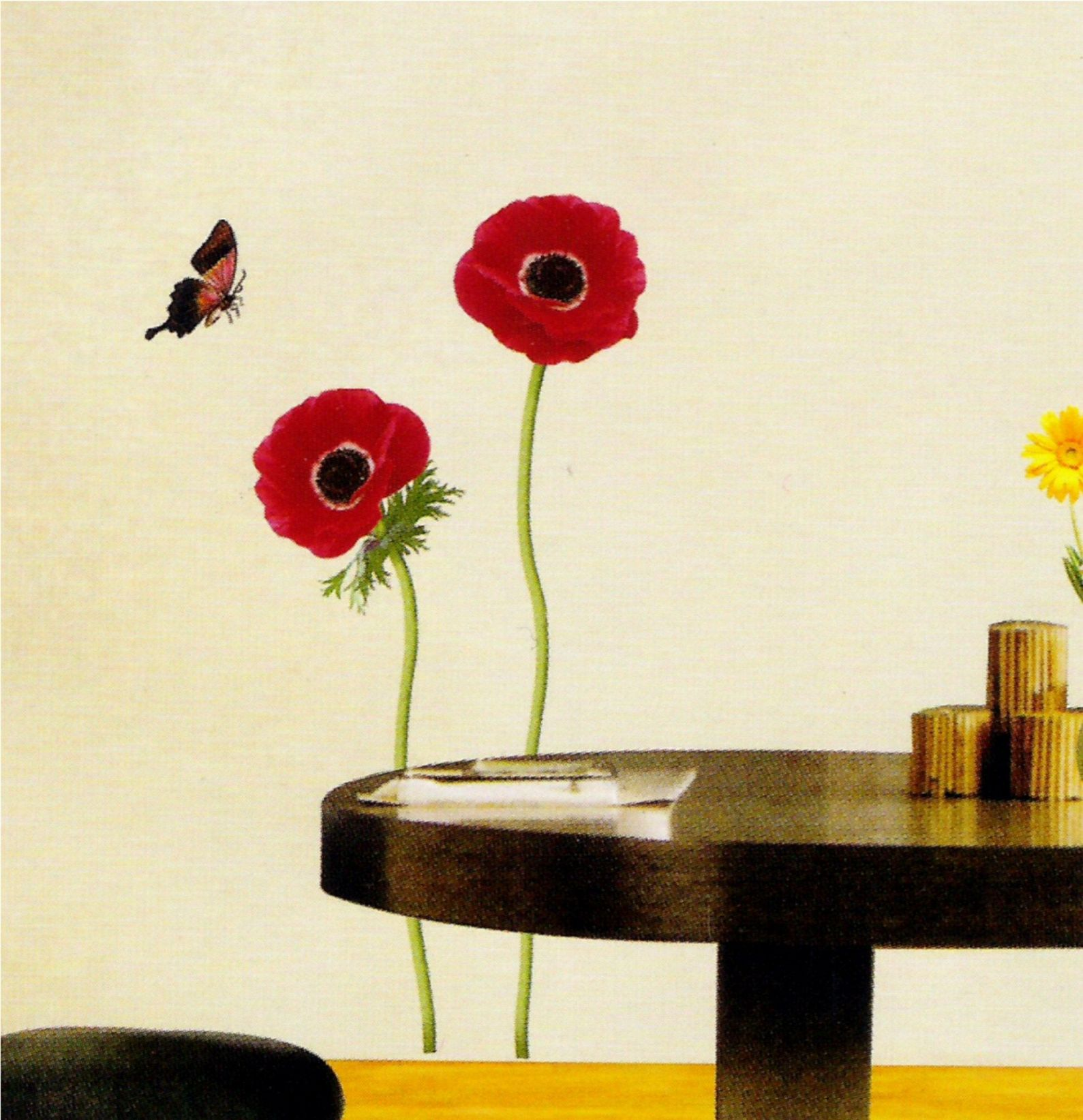 red flower and butterfly wall sticker vinyl transfere
