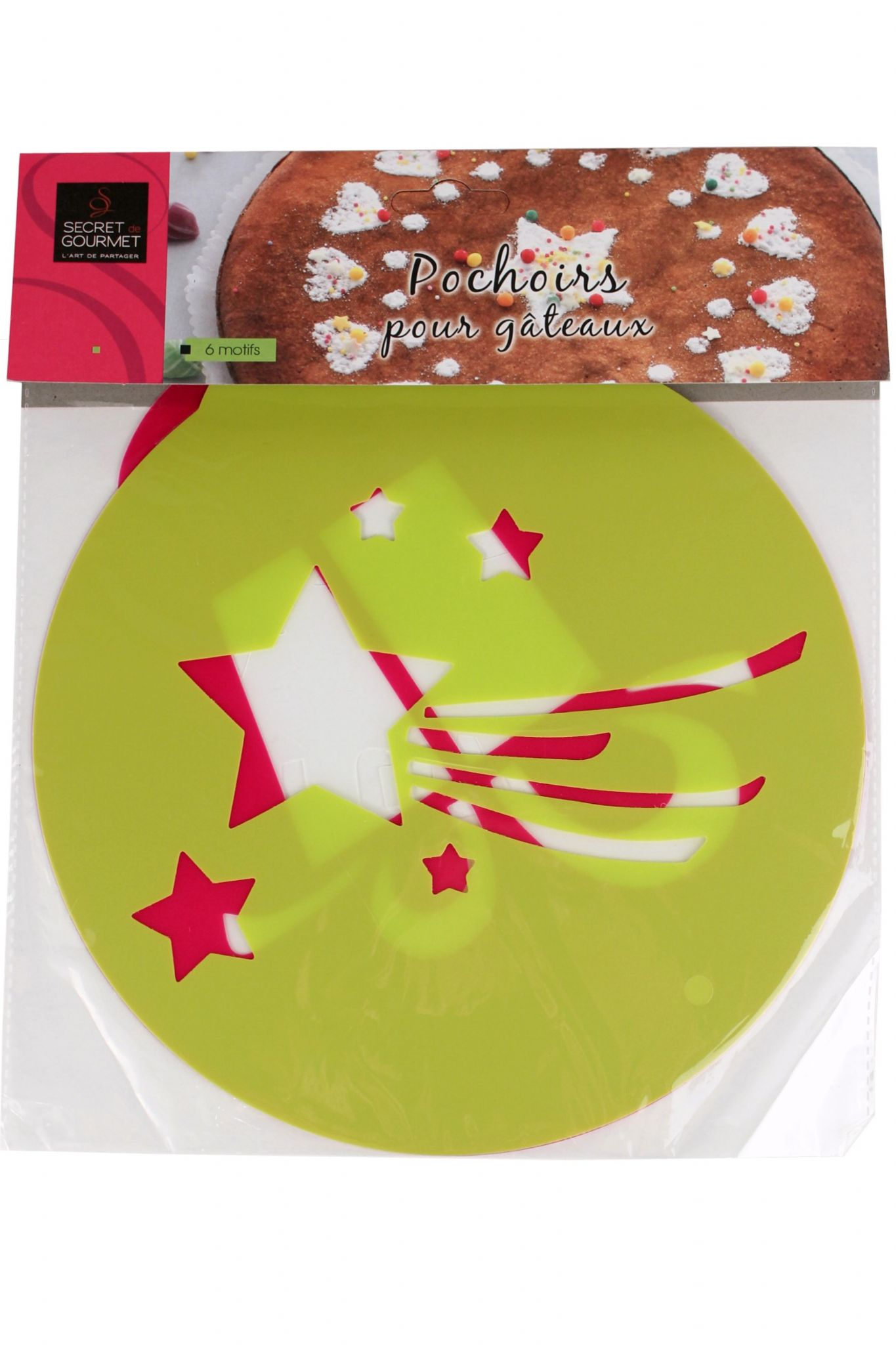Round Cake Decorating Stencils Present Shooting Star and ...