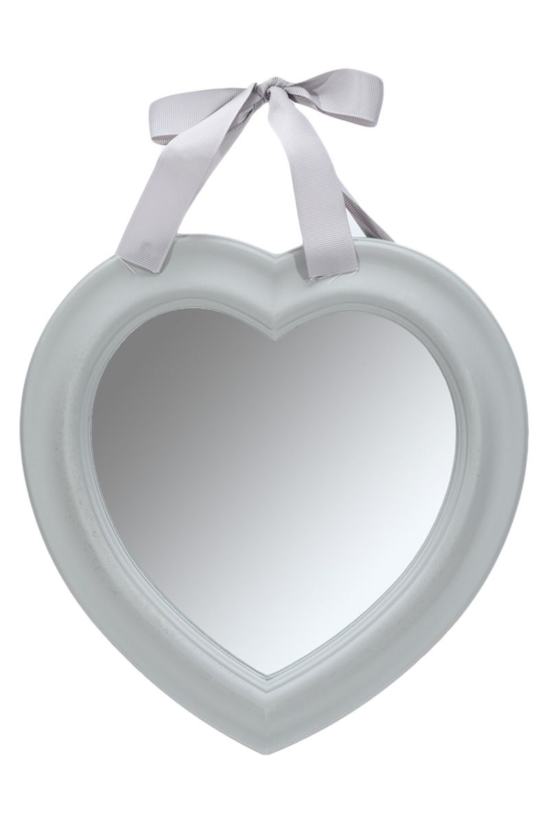 Shabby Chic Heart Shaped Wooden Wall Mirror Vintage Style