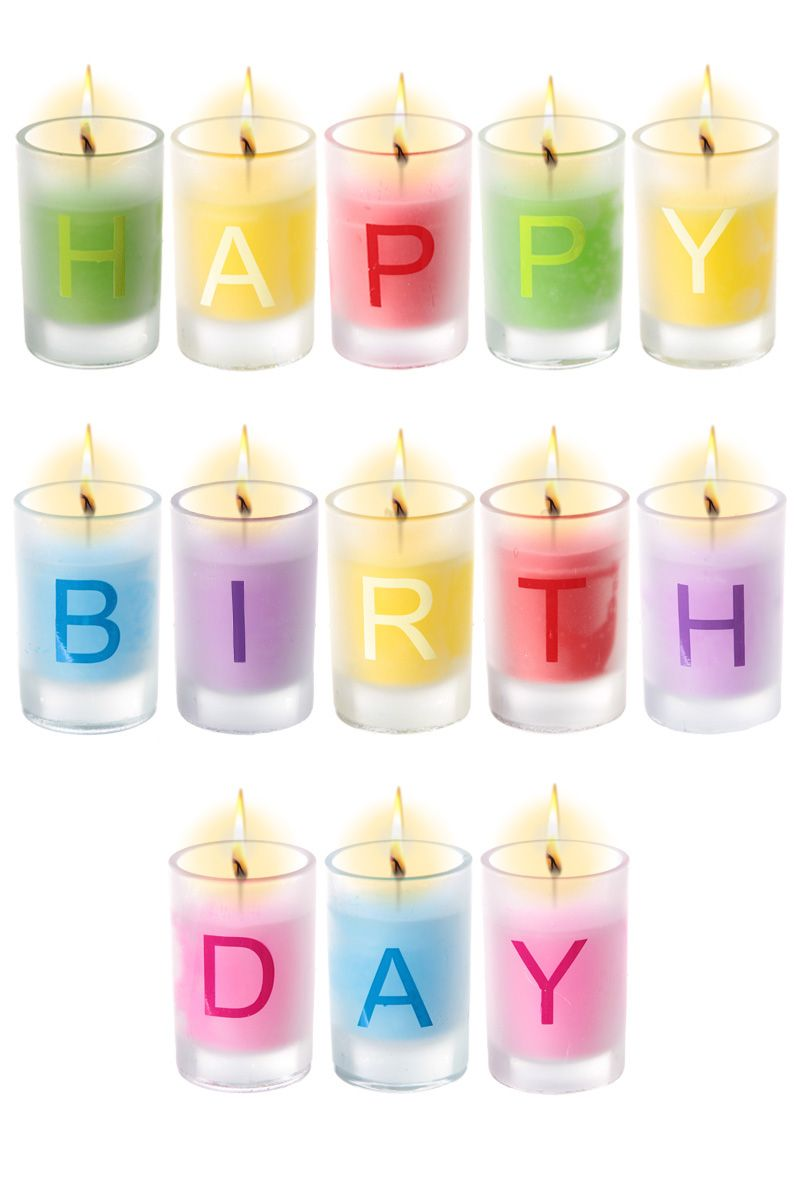 Happy Birthday Candles Set Of 13 Individual Letter