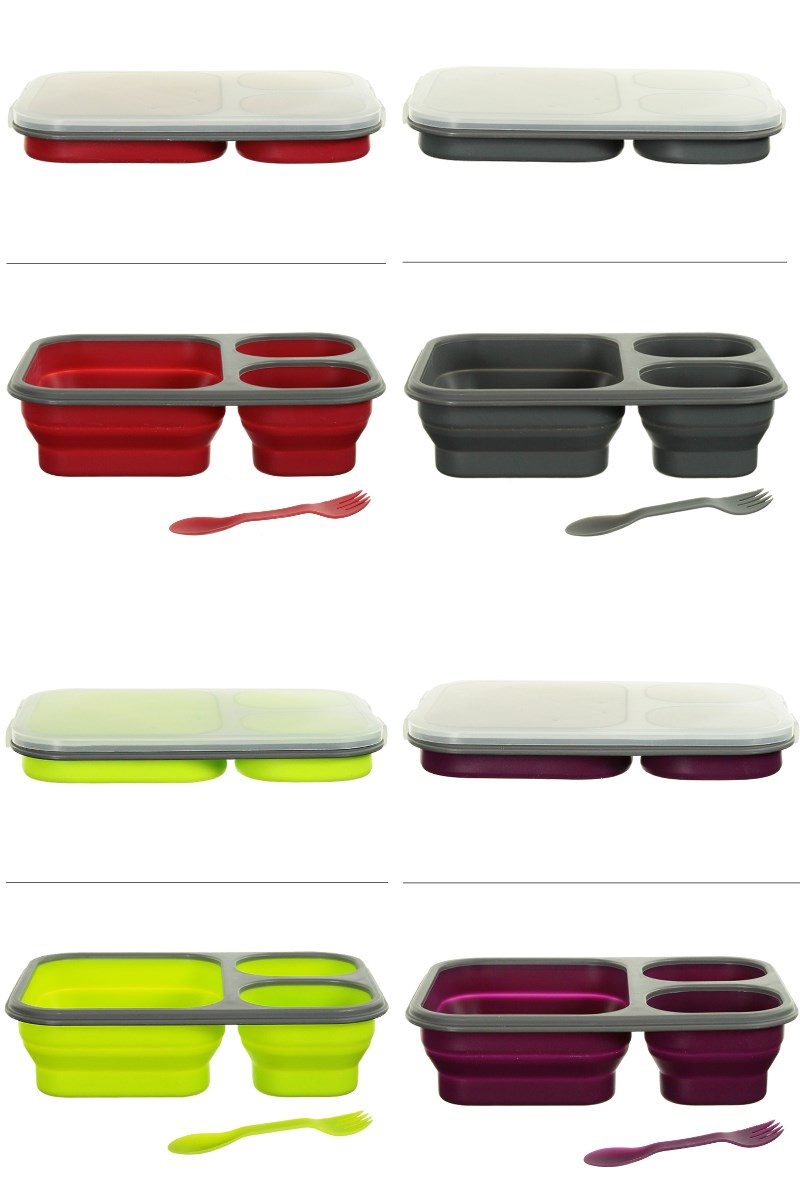 Silicone Collapsible 3 Section Lunch Box Retractable