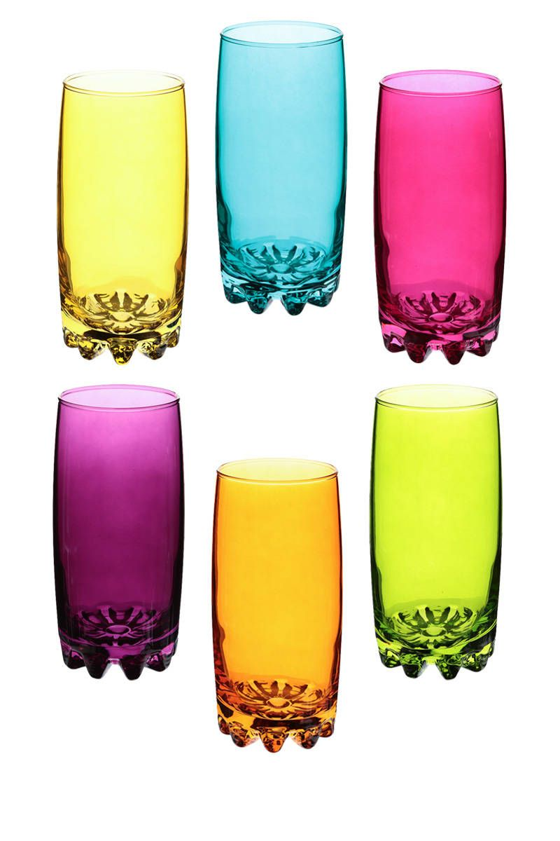 Tall Coloured Drinks Glass Multi Coloured Highball